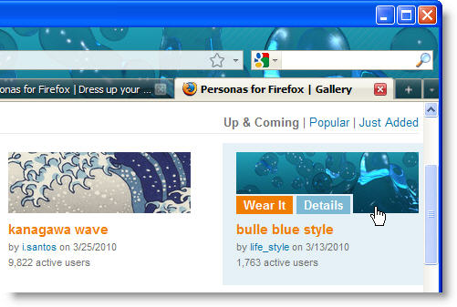 Personas for Firefox: customize your browser with themes