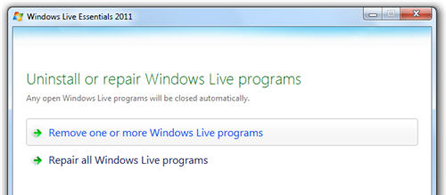 Uninstall Windows Live Messenger 2011