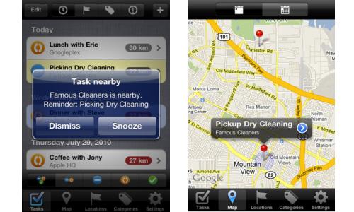 TaskWare location based reminders