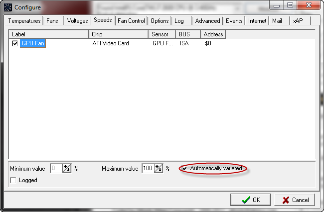 speedfan configure minimum and maximum