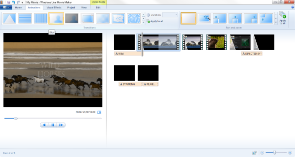 windows live movie maker animations