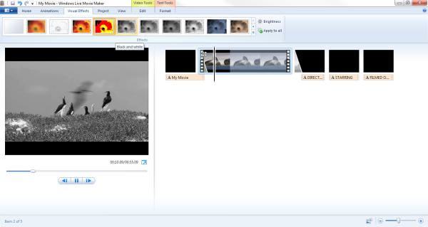 windows live movie macker visual effects