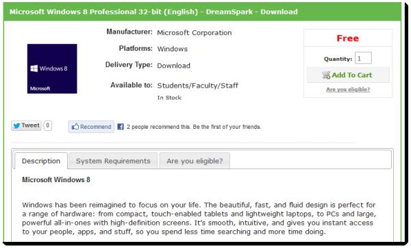 free windows 8 professional dreamspark