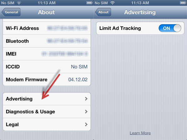 iOS limited tracking