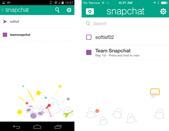 Snapchat Android iOS messages