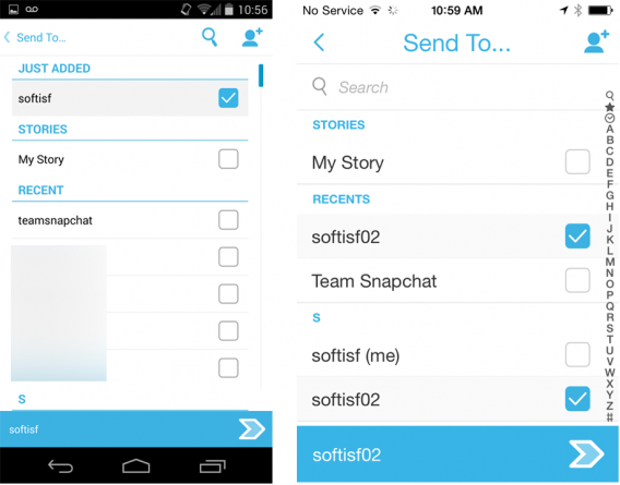 Snapchat Android iOS send to