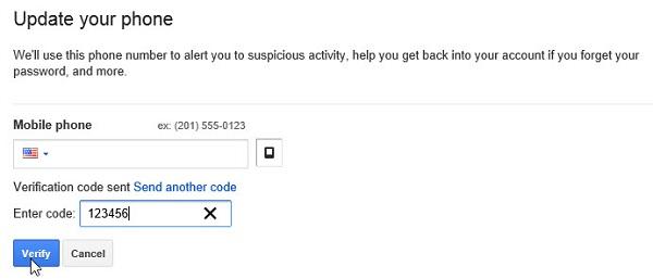 Google confirm code