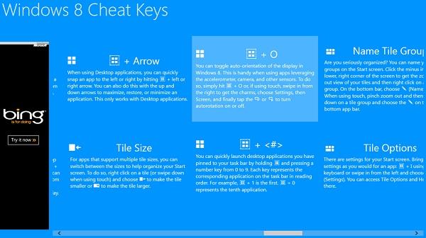 Windows 8 Cheat Keys interface