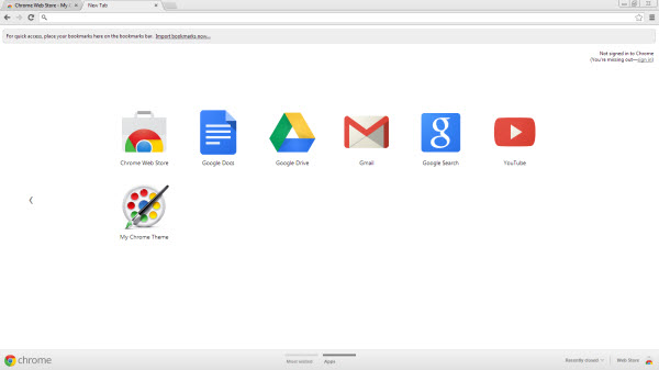 My Chrome Theme on the app page