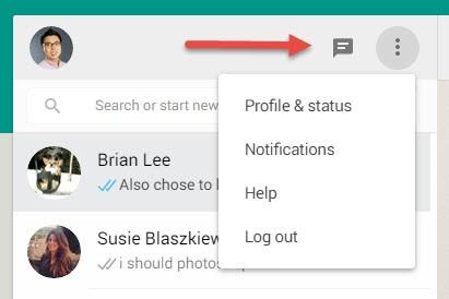 WhatsApp Web menu button
