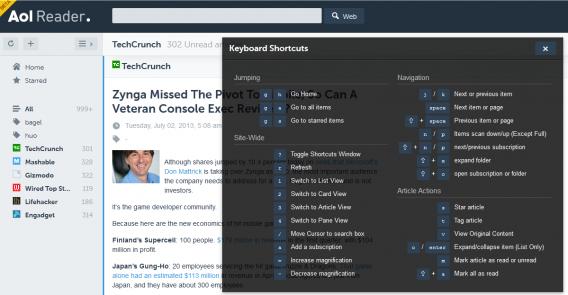 aol keyboard shortcuts