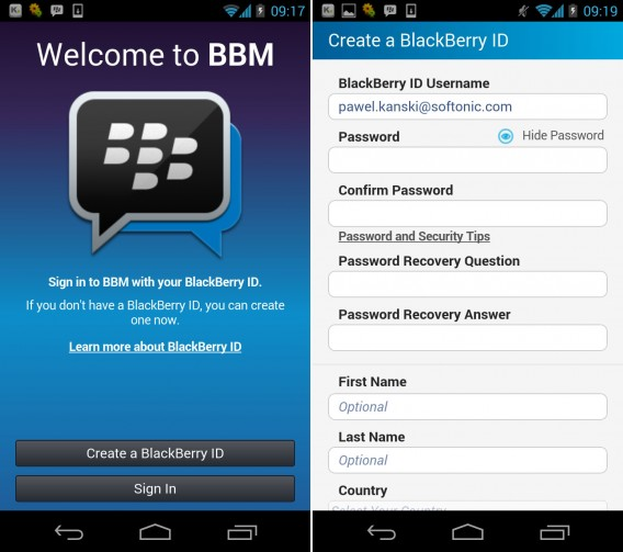 BlackberryMessenger Android