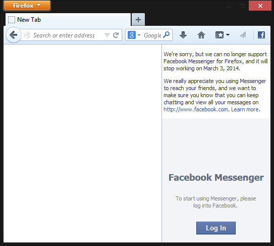 Facebook Messenger for Firefox notice