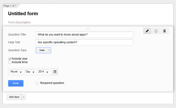 Google Forms date