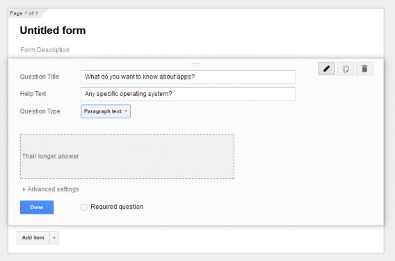 Google Forms paragraph