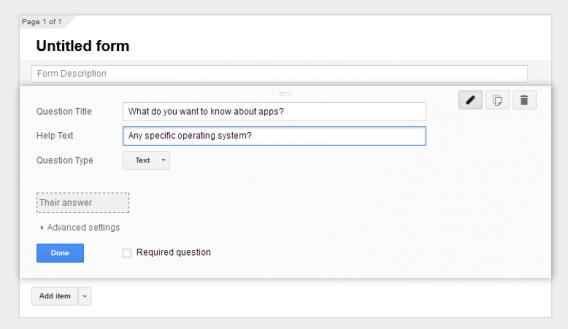 Google Form text