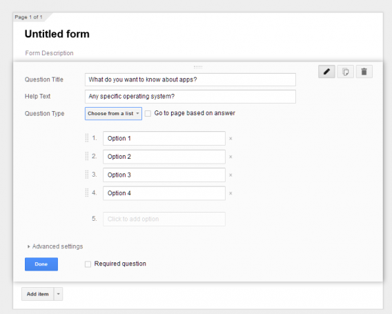 Google Forms choose from a list