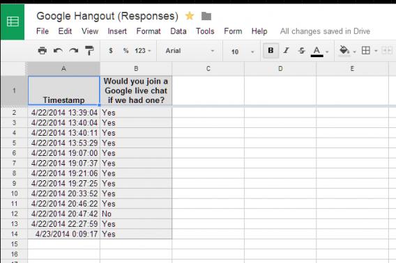 Google Sheets responses
