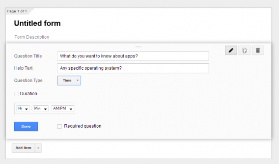 Google Forms time