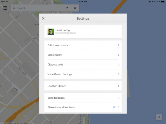 iOS Google Maps Location History settings