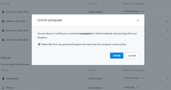 Dropbox remote wipe feature