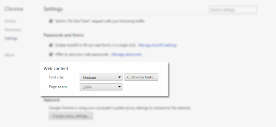 chrome settings web content