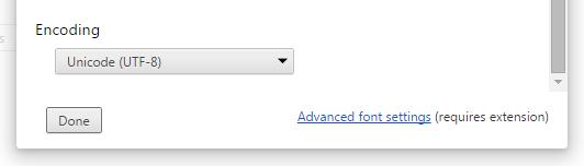 chrome settings web content encoding