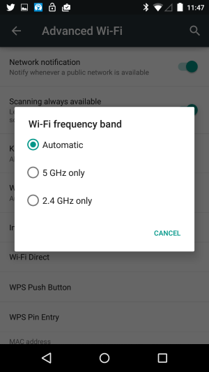 android 5.0 lollipop wireless frequency