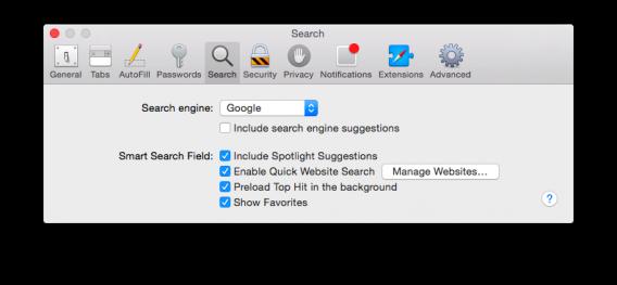 Safari Spotlight suggestions