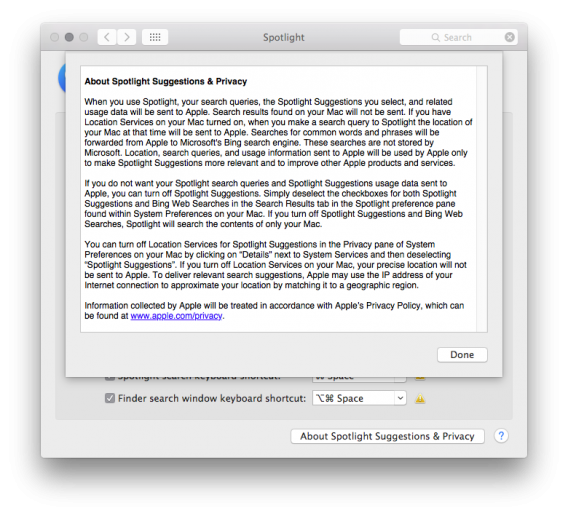 Apple Spotlight Suggestions TOS