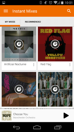 google play music android instant mix