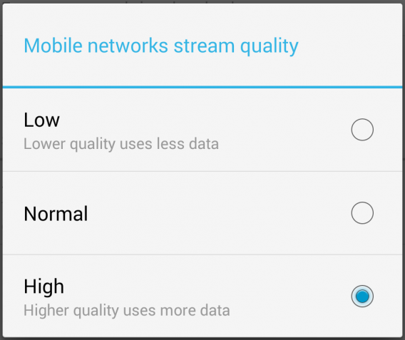 google play music android streaming quality