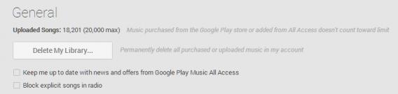 google play music settings general