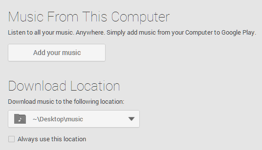 google play music settings music from