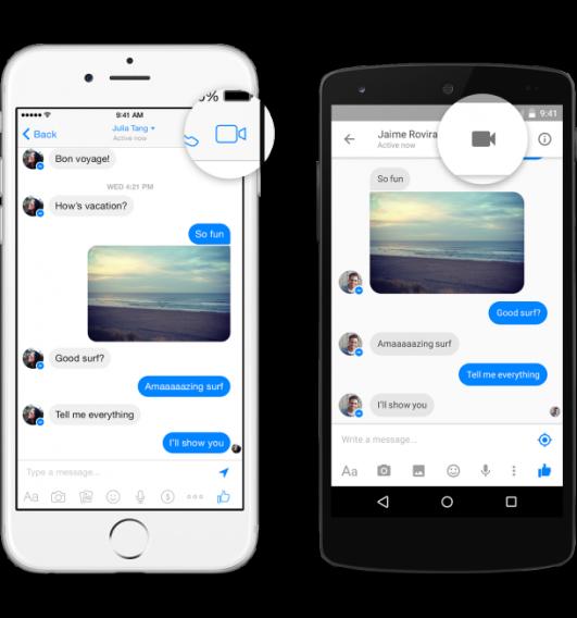 Facebook Messenger video call button