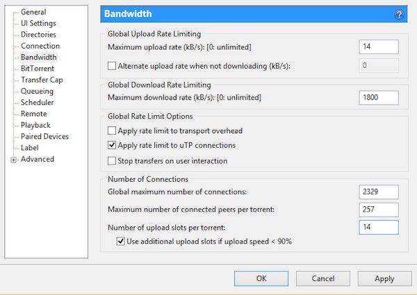 uTorrent - Preferences - Bandwidth