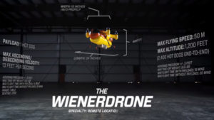 Is it a bird? Is it a plane? No it is a Hot Dog Delivery Drone