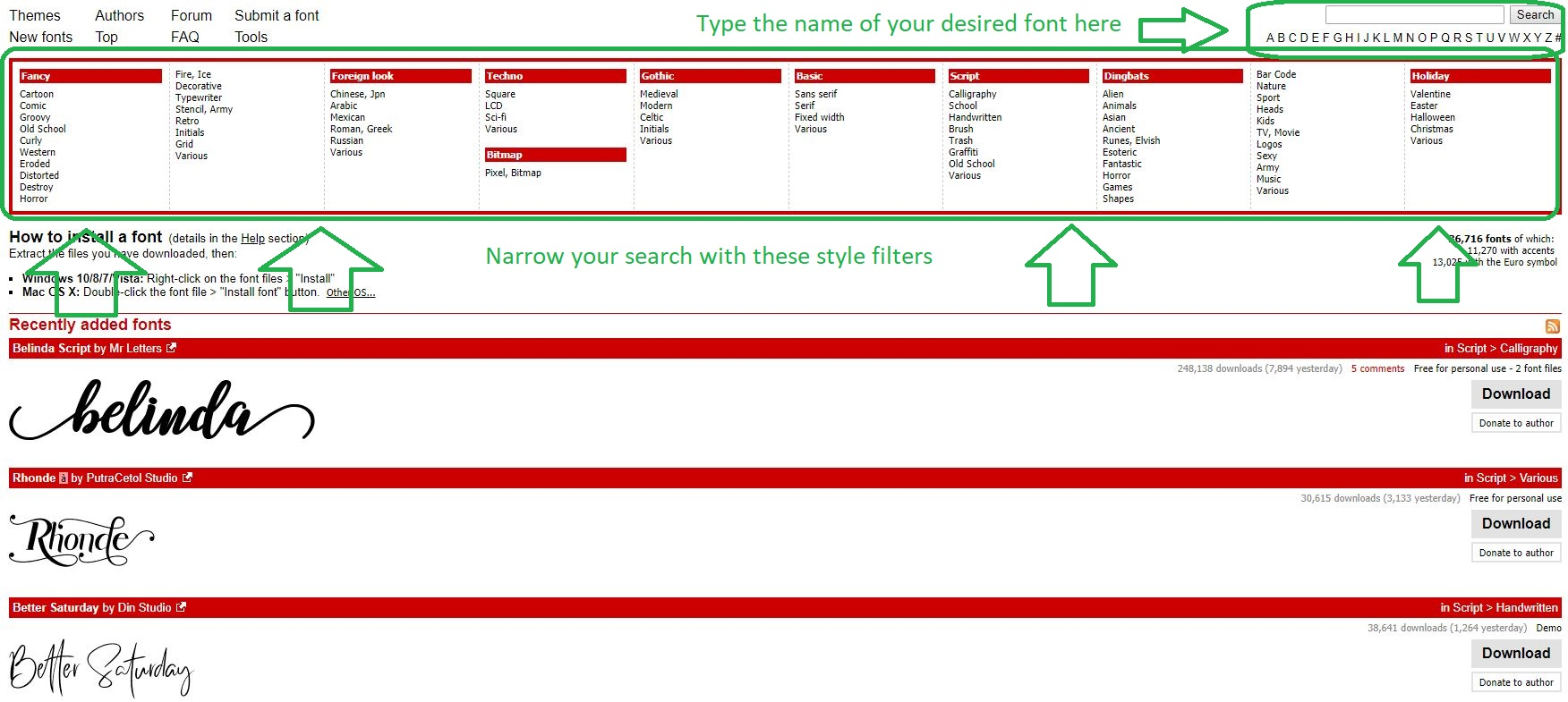 narrow your search or type in your chosen font name!