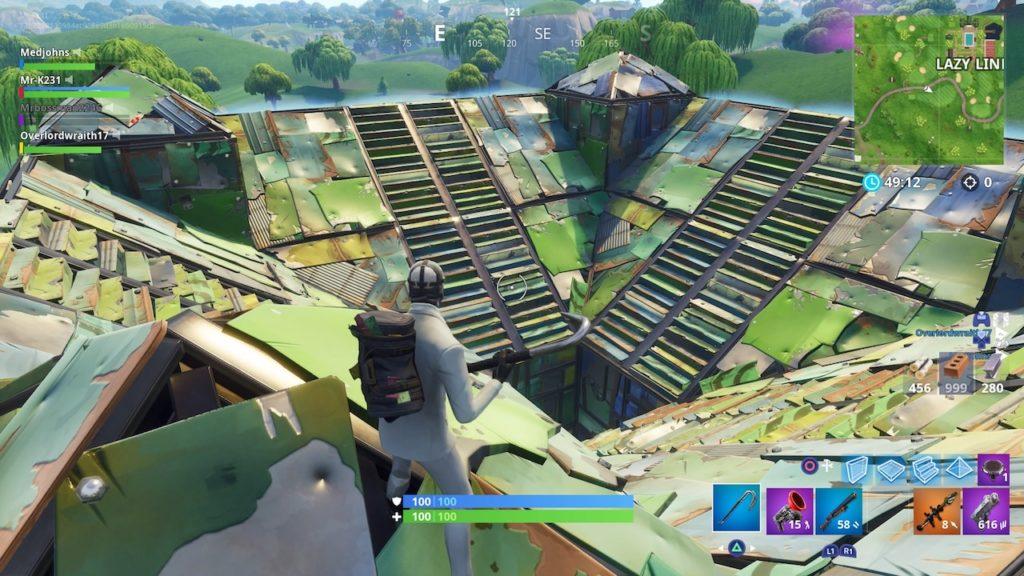 fortnite port-a-fortress roof
