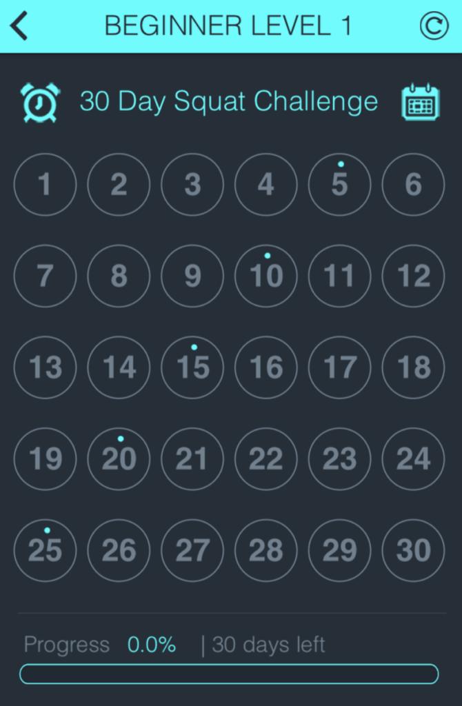 30-day squat calendar