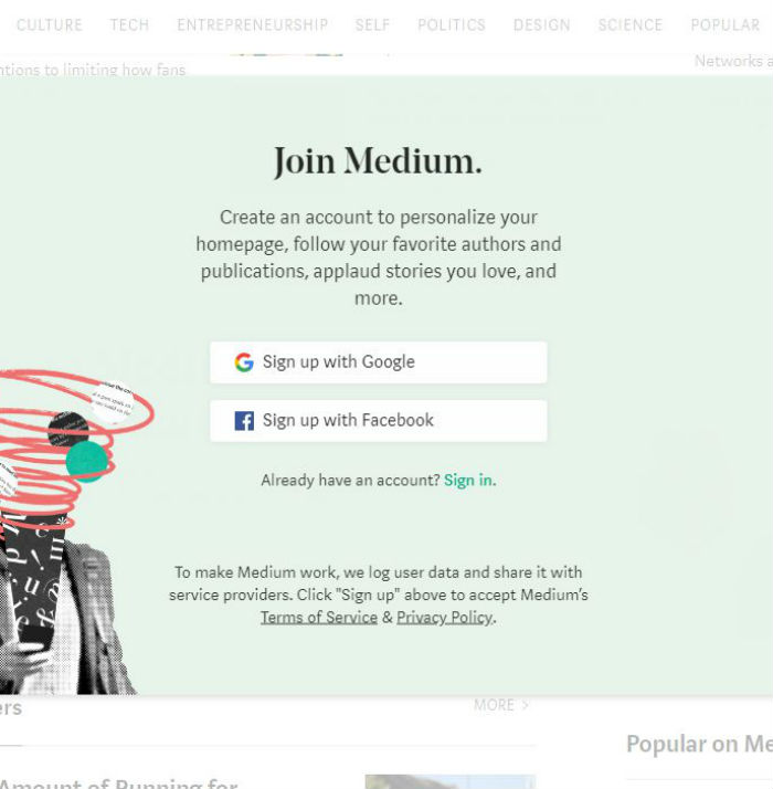 sign up for medium