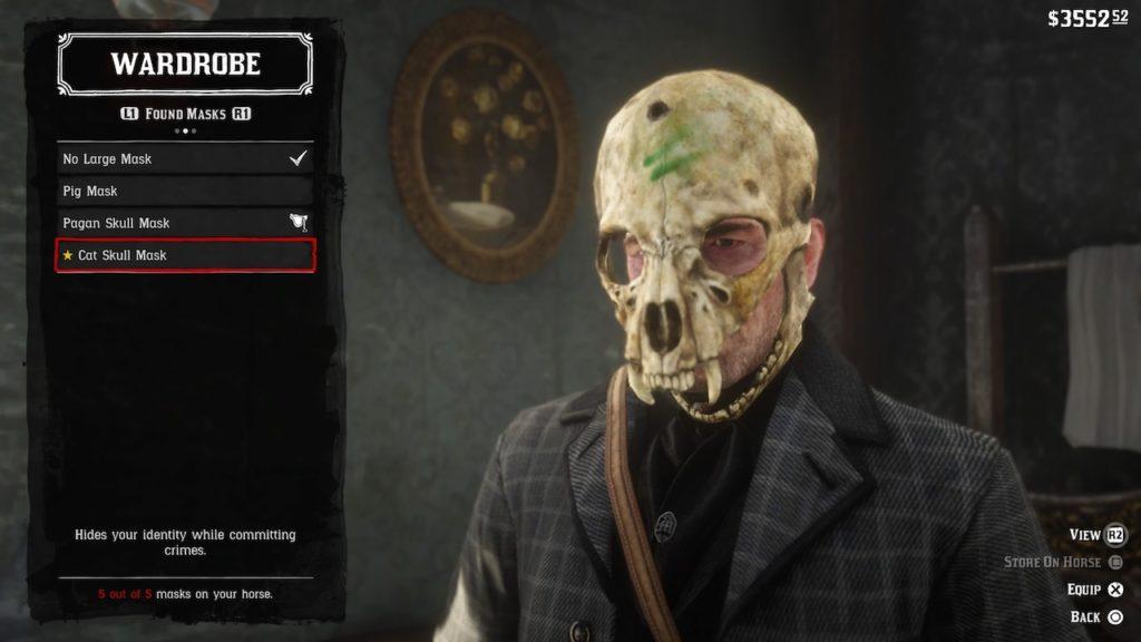 red dead redemption 2 cat skull mask