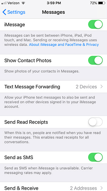 imessages setup