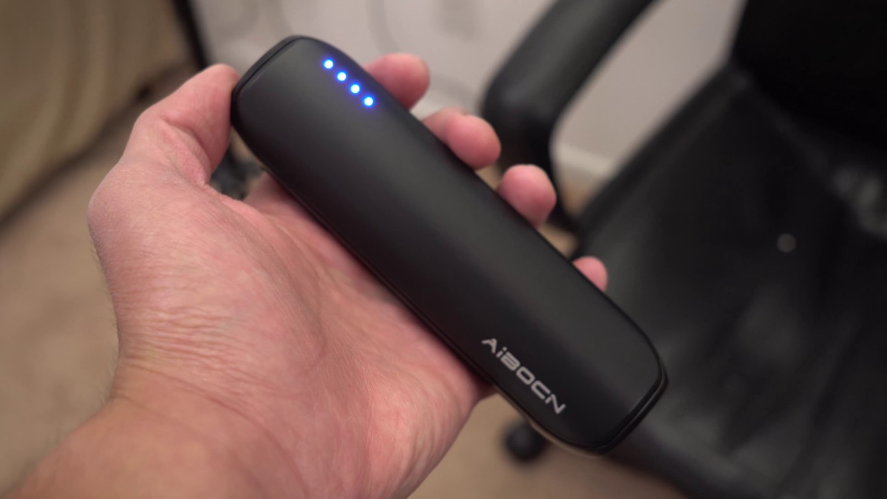 The aibocn portable charger is compact and ready on the go.