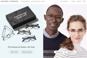 warby parker minimal home page