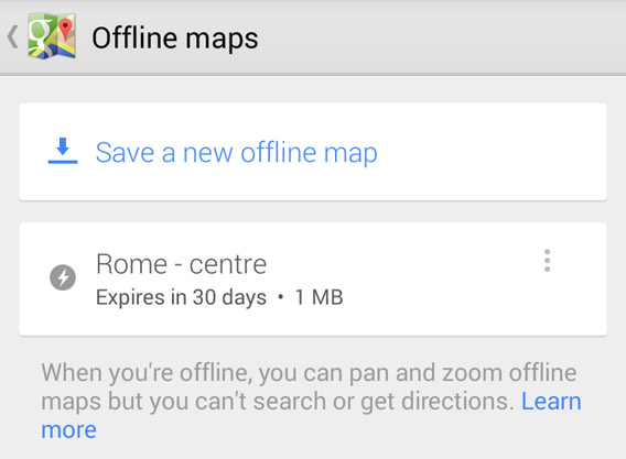 Google Maps for Android offline