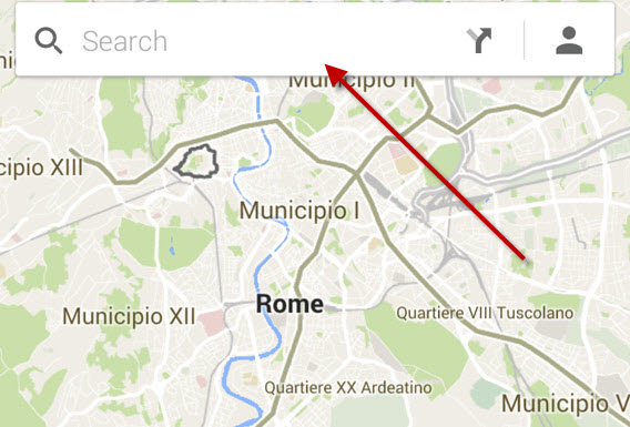 Google Maps for Android search bar