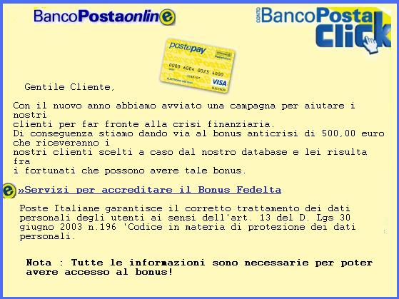 Messaggio phishing bonus Bancoposta