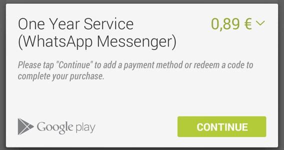 WhatsApp, première étape du paiement. Continuez.