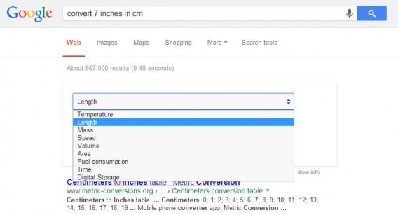 différentes unités de mesure dans Google